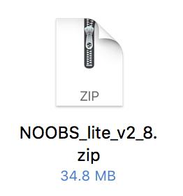 ダウンロードしたNOOBSのZIP形式
