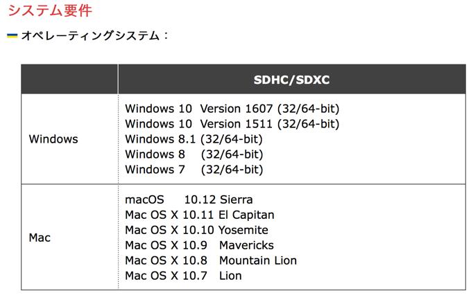 対応OSーSDカードフォーマッター