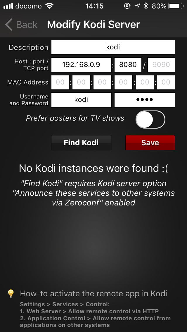 official-kodiremote-setting