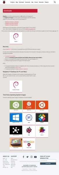 Raspbianのダウンロードページ全体像