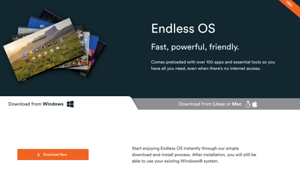 Download画面 Endless OS