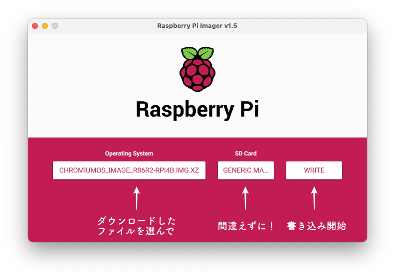 Raspberry Pi Imager書き込み画面