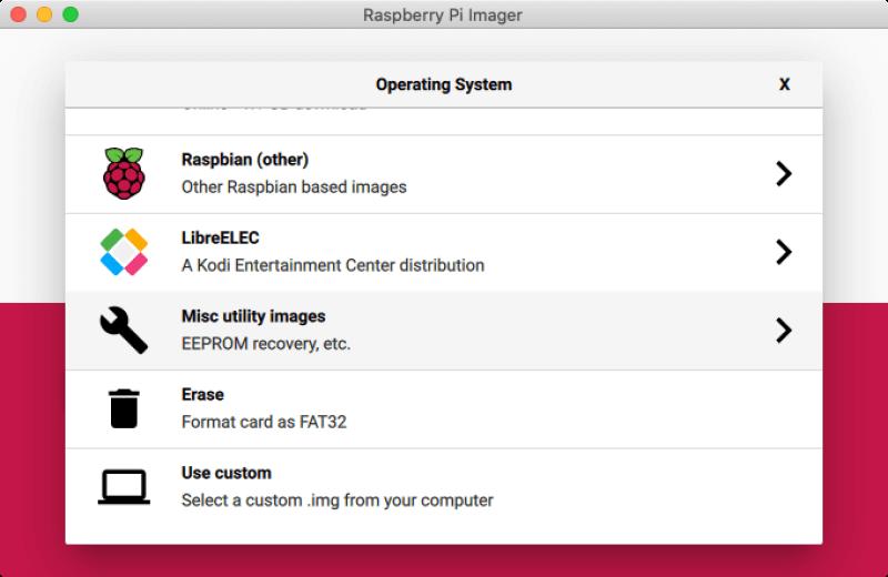 Raspberry Pi Imagerのメニュー画面