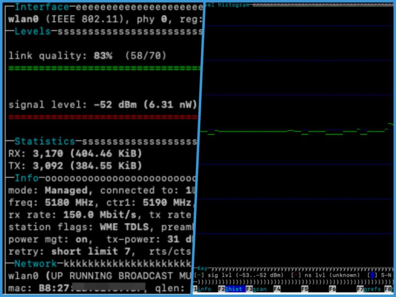 Wi-Fiの電波強度をモニターするコマンド「wavemon」が初心者には分かり易い